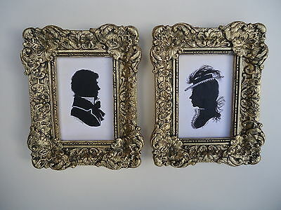 Pair  Of  Painted  Silhouettes