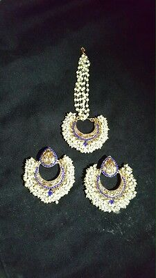 New Indian jewellery Bollywood Style Earrings Tikka Set in Gold & Blue