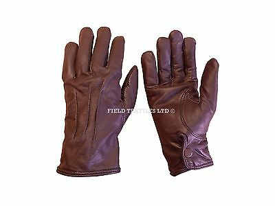 Brown Leather Gloves - Winter/Warm - Various Sizes Available - British Army  NEW