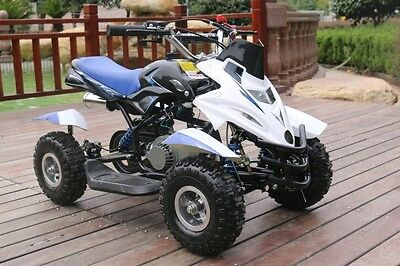 Hawkmoto Blue 50cc Childrens Kids Dirt Ninja Mini Off Road Petrol Quad Bike