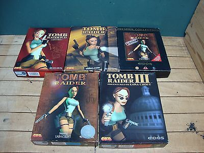 Bundle of 5x Clasic Tomb Raider PC Video Games UNTESTED