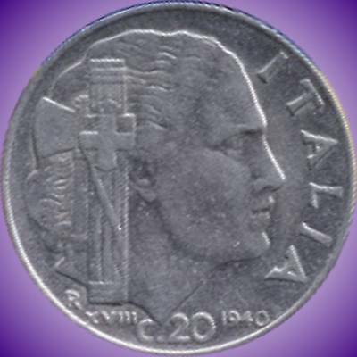 Italy 1940 (Non Magnetic) 1941 & 1942 20 Centesimi Coins