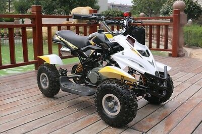 Hawkmoto Yellow 50cc Childrens Childs Dirt Ninja Mini Off Road Petrol Quad Bike