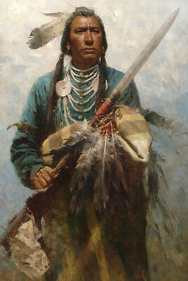Native American Warrior Soldier Spear Oil Painting Portrait On Canvas Wild West