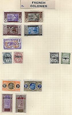 France/French Colonies Stamp Collection on Old Album Page #12 -  MH