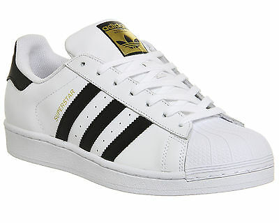 Mens Adidas Superstar 1 WHITE BLACK  Trainers Shoes