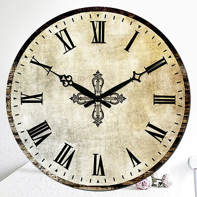 Large 38cm Classical Wall Clock Vintage Style MDF Wooden Home Kitchen Decoration