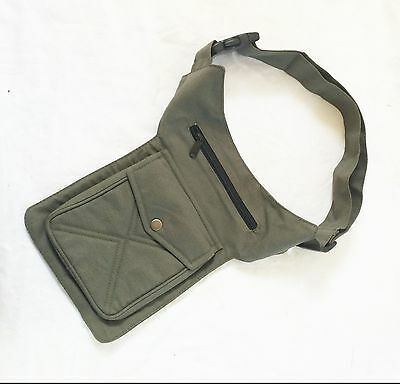 Khaki Utility Party Festival Bum Bag Waist Money Belt Travel Bag