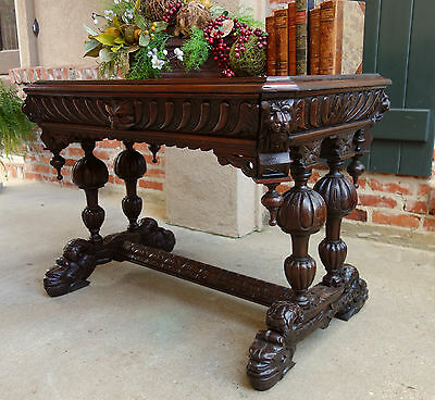 Antique FRENCH Victorian Carved Oak Dolphin Table Desk Renaissance Gothic Dark