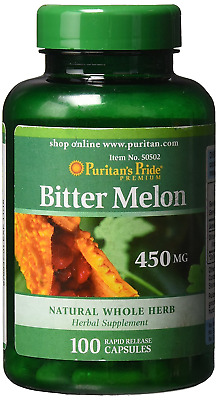 BITTER MELON 450MG x100 capsules PURITANS PRIDE FREE SHIPPING 24HR DISPATCH