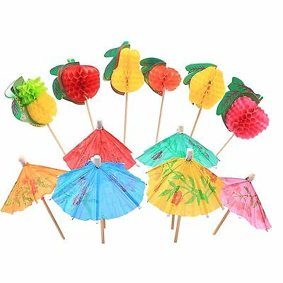 Cocktail Sticks With Paper Parasols - 36 Pack Decorative Umbrella picks / Fruits