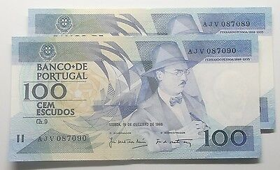 Portugal - 2 X 100$00 - 1986 - Running Numbers - Aunc