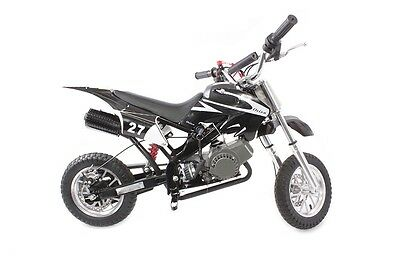 Hawkmoto Black 49cc Petrol Mini Moto Dirt Devil Pocket Scrambler Motorbike Bike