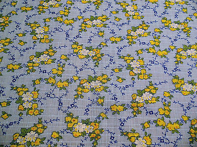 Vintage 70's Blue White & Yellow Floral Cotton Dress Shirt Quilting Fabric.