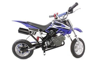 Hawkmoto Blue 49cc Petrol Mini Moto Dirt Devil Pocket Scrambler Motorbike Bike