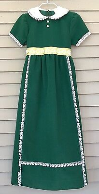 Vintage Little Girls Long Maxi Dress Spring Green Daisy Size 5 Retro
