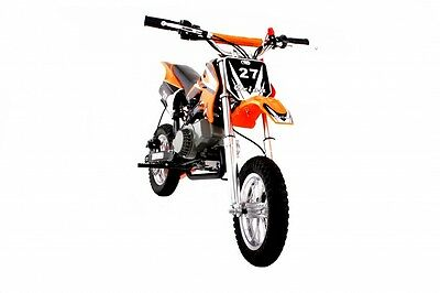Hawkmoto Orange 49cc Petrol Mini Moto Dirt Devil Pocket Scrambler Motorbike Bike
