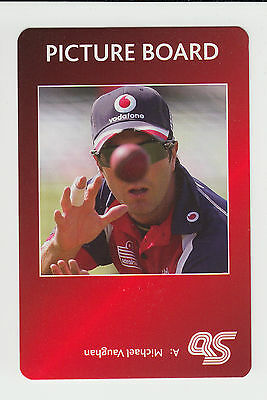 Cricket : Michael Vaughan : England : UK sports game card - red back