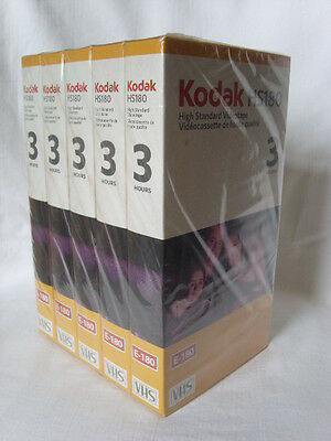 KODAK 5 Blank VIDEO TAPES Unused VHS 3 hours SEALED 180 minutes Videotape