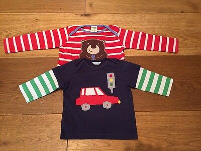 1 X Frugi And 1 X Boden Boy's Long Sleeved Tshirts Age 6-12 Months