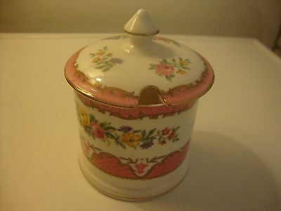 Crown Staffordshire Pink Tunis Preserve Or Jam Pot Very Good Condition