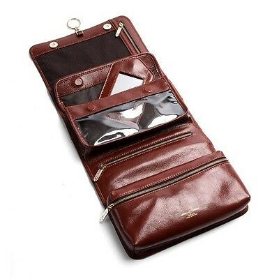 Aspinal of London Men's Leather Hanging Wash Bag Smooth Cognac Initials PGH
