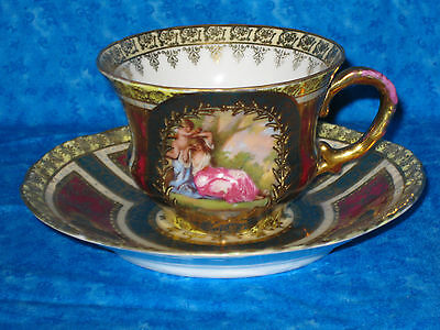 Royal Vienna cabinent Portrait Cup & Saucer Winged Cherub red gold bee hive blue