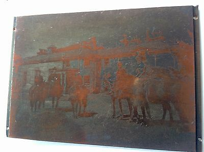 """Antique /vintage Copper Printing Plate """" Horse Riders / Soldiers ? """""""