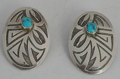 Vintage etched Sterling & Turquoise Native American, Navajo large earrings