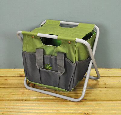 Folding Storage Stool Seat In Canvas With Detachable Gardening Tool Bag