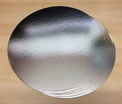"Round Silver Cake Card Boards 12"" Inch Weddings Birthdays Parties. Pack of 5"