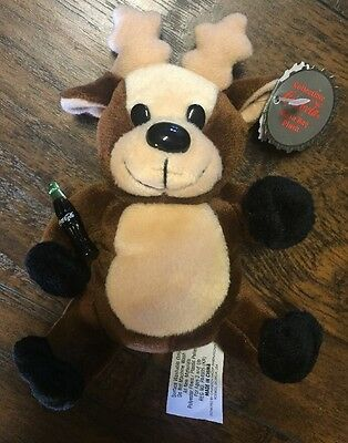 NEW 1997 Reindeer w/Coca Cola Bottle (#0152) Collectible Beanie Plush w/Tags