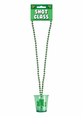St Patrick's Day Green Bead Shot Glass Necklace