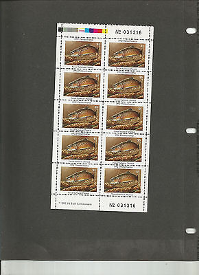 PA trout  salmon permit stamps  VF NH complete sheet, 1991
