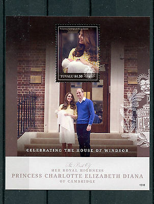 Tuvalu 2015 MNH Princess Charlotte Birth Royal Baby 1v S/S Prince William Stamps