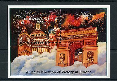 Turks & Caicos 1995 MNH WWII VE Day 50 World War II 1v SS Big Ben Kremlin Stamps