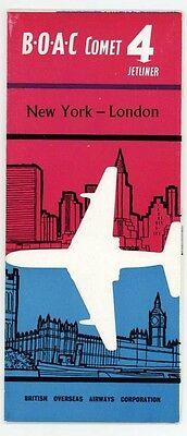 Boac Airline Comet 4 New York To London Vintage Brochure