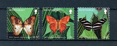 Montserrat 2013 MNH Butterflies II 3v Set White Peacock Skipper Insects Stamps