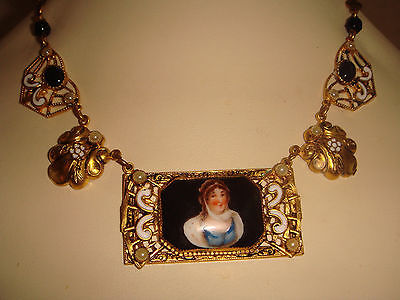 Antique Victorian French Fine G/f Enamel Hand Painted Porclain Cameo Necklace