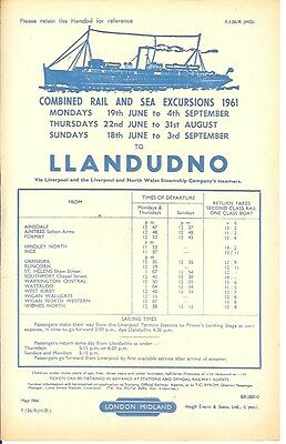 Llandudno from Ainsdale Waterloo Ince Ormskirk Aintree Sefton Arms Station 1961