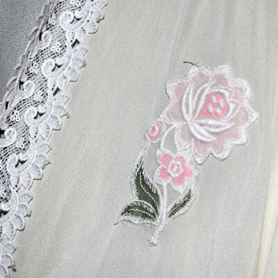 VINTAGE Eve  Stillman Lace Embroidered Dressing Gown Robe Size Large USA