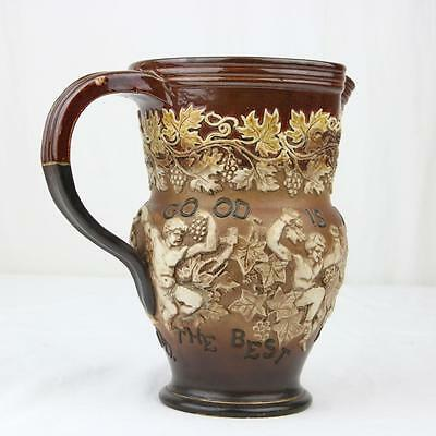 "Antique Royal Doulton Motto Jug ""Good is not Good Enough"" Devil  Cherubs Bacchus"
