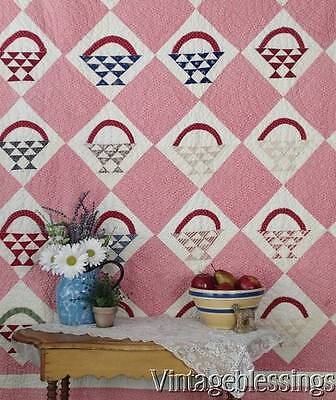 Antique c1880 Cottage Basket QUILT Beautiful Fabrics Not Perfect 71x64""