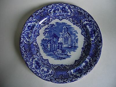 """Antique George Jones Abbey Blue And White Plate 9.25"""""""