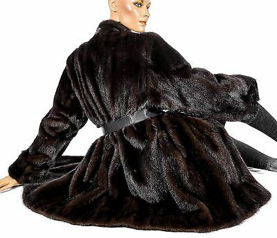 L awesome women's dark mink fur jacket soft Vintage Visone Real fur brown coat