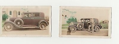 2 Antique Stunning Old 1931 Photograhs Of Couple And Car Collectable.