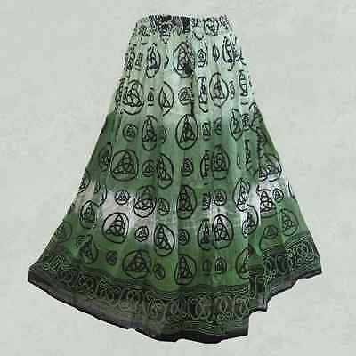 NEW Green Triquetra Skirt Semi-Sheer Cotton Crinkle Tie-Dye Celtic - One Size