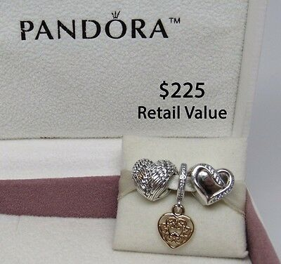 9b8d0e3ae New w/Box Pandora Gift Set of 3 Beautiful Heart Charms Magnificent Heart  Angel