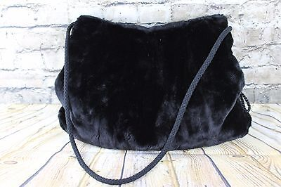 Vintage Beautiful Black Thick Faux Fur Huge Muff Hand Warmer Pouch Shoulder Bag