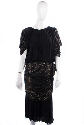 Vintage 1980's Kristina black and gold pleated evening dress labelled size 16